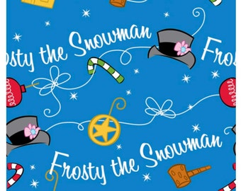 Frosty The Snowman Fabric Silly Snowman Royal Blue Icon Toss Fabric by Quilting Treasures Fabric Sold By The Half Yard in One Continuous Cut