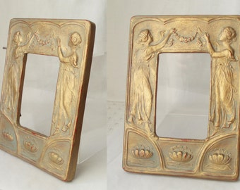Art Nouveau C1890/1910 Terracotta Gold Figural Picture or Photo Frame Antique  . Frame for Re Use .