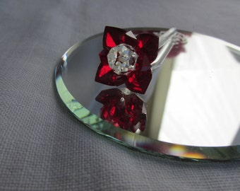 Crystal Rose on Mirror - Red Rose - June Birthday Gift - Vintage