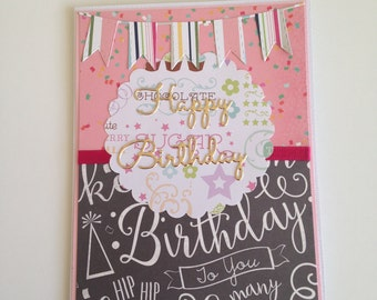 Girl Teen Pink Happy Birthday Card