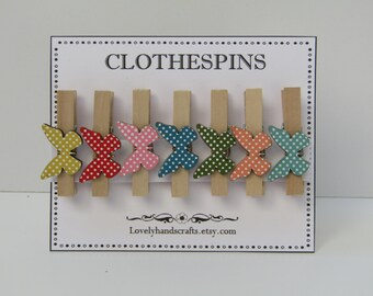 Butterflies -  Decorative Wooden  Clothespins - Set of 7