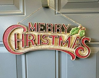 Vintage Christmas sign repainted. Free shipping!    Item# 1112161