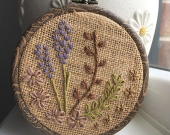 Floral botanical embroidery hoop art 4""