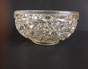 Vintage Pressed Glass Footed Fruit Bowl