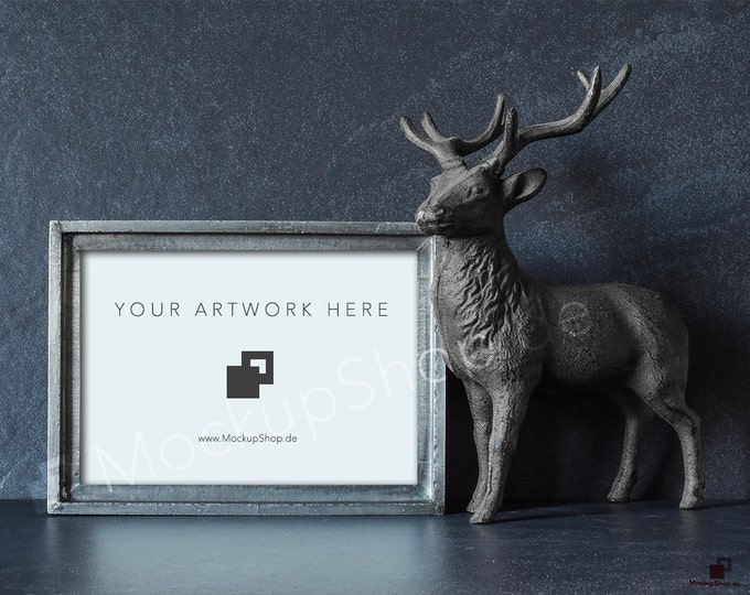 "DEER MOCKUP FRAME 5x7"" / 10x14"" / landscape / stag / deer / with old vintage silver frame mockup  / deer stock photo / autumn photo / mockup"