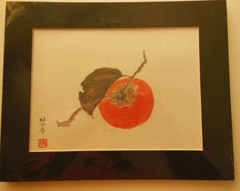 Japanese Persimmon branch print Japanese spun glass washi paper matted 8 X 10