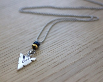 ethnic necklace with stainless steel pendant arrow blue and gold beads - steel necklace - arrow necklace - ethnic jewelry - arrow charm