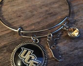 UCF Knights adjustable bangle, expandable bracelet bangle, Knights,Stainless steel, University of Central Florida, knights bangle