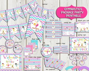 Gymnastic Party Package Instant Download, Gymnastic Birthday Party,Gymnastic Party Supplies,Banner,sign  PRINTABLE DIY