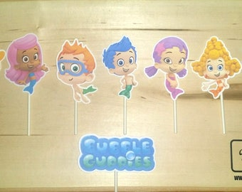 Bubble Guppies Inspired Cupcake Toppers On A Stick