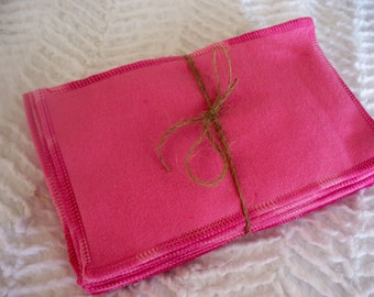25 Pink 2-ply flannel family cloth | Gender neutral | Girl Cloth Wipes Diapering