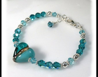 Teal and White Lampwork Glass Bracelet, Turquoise Crystals, Sterling Silver, Handcrafted Jewelry, Teal Turquoise Jewelry, Unique Jewelry