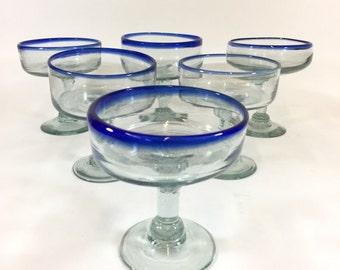 Mexican Cobalt Margarita Glasses, Vintage Mexican Glass, Retro Stemware, Southwest  Barware, Blue Rim, Set of 6, Margarita Glasses Set