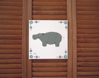 Hippo #6 Fabric Wall Art