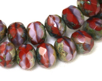 Painted Desert red purple pink swirl w/ picasso  6 x 9mm rondelles. Set of 12, 25 or 50.
