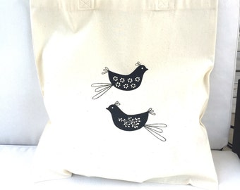 TOTE Bag - Cotton Tote Bag - Shopping bag - Birds