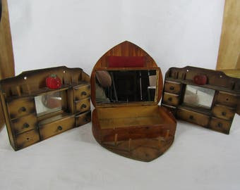 CLEARANCE 3 pieces vintage wood sewing boxes with mirrors with issues