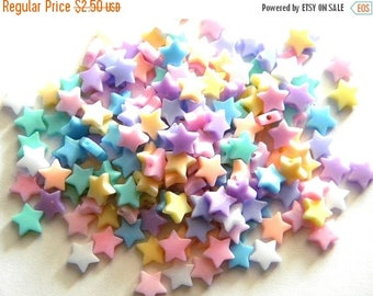HALF PRICE 50 Pastel Acrylic Star Beads