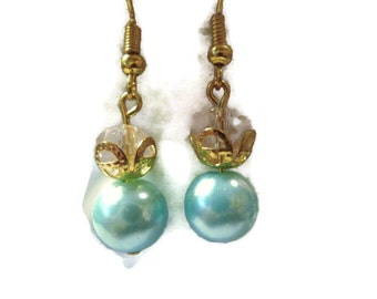 Classic Turquoise Glass Pearls with Light Pink AB Glass Crystal Rondelles Drop Earrings 144