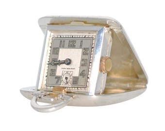 Vintage Silver Travel Clock