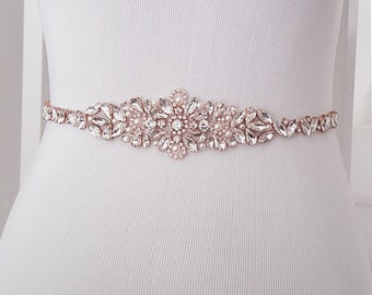 Wedding Belt, Pearl Bridal Belt, Beaded Bridal Sash, Beaded Wedding Belt, Silver, Rose Gold - Style 786