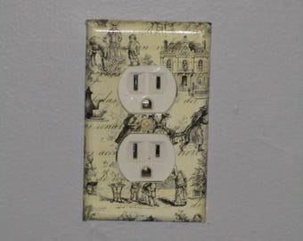 Outlet  Cover Anitque Paper  Wall Plate