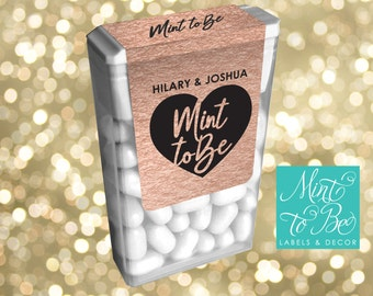 Personalized Rose Gold Wedding Favor Labels for Tic Tacs Mint to Be Engagement Labels Customize Design