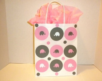 Baby Gift Bag, Elephant Baby Gift Bags, Shower Gift Bags, Party Gift Bags