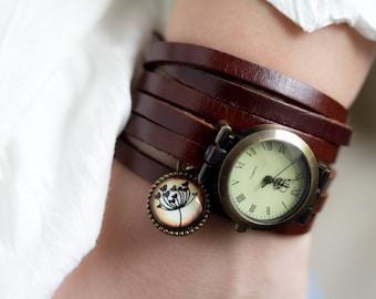 Woman Wrap Watch bronze wrist watch, Winding watch,  bracelet watch, genuine leather, brown real leather long band, wrap watch
