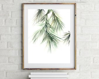 Minimalist Green Art Print, Pine tree brunch painting, Watercolor Print, Modern Wall Art