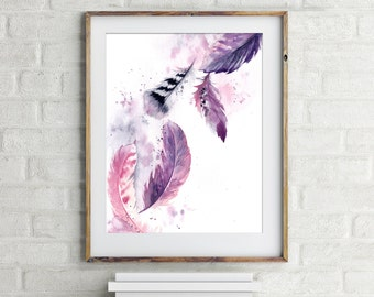 Feathers Art Print, purple feathers, watercolor painting art print, feathers art, modern wall art