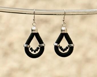 Black Statement Earrings, Rope Earrings, Silver Black Beaded Earrings, Big Dangle Earrings, Statement Jewelry, Textile Drop Earrings