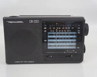 Vintage Realistic DX 350 12 Band Am Fm Lw Sw Portable Shortwave Radio Receiver