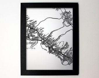 Honolulu Hawaii Laser Cut Map, Honolulu Map, Honolulu Framed Map, Honolulu gift, Honolulu HI, Honolulu print, Honolulu art, Honolulu Wedding