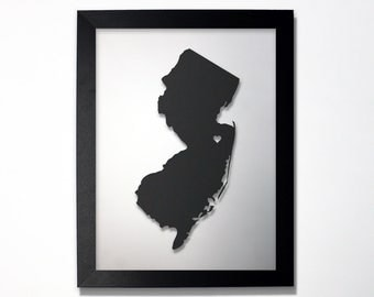 New Jersey Map / Laser Cut Map / New Jersey State Art / New Jersey Art / Framed State Map / New Jersey Gift / Wedding Gift / Anniversary