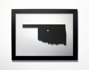 Oklahoma Map / Laser Cut Map / Oklahoma State Art / Oklahoma Art / Framed State Map / Oklahoma Gift / Wedding Gift / Anniversary Gift