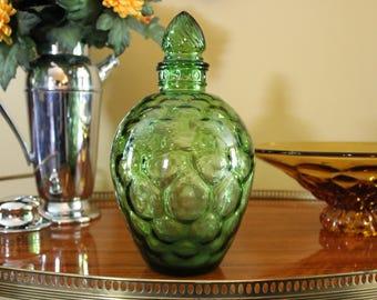 Vintage Green Glass Vase, Green Glass Jar, Green Honeycomb, Green Optic Jar, Bubble Glass, Midcentury Green Glass Bottle, Green Decanter