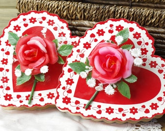 Two Vintage Paper Heart Boxes, Valentine Boxes, Heart Box, Chocolate Boxes, Gifts, Heart Candy Boxes, Vintage Paper Valentine's 17-2-1