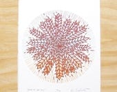 "Woodblock Print ""Grain of the Sky"" Star Astronomy Starlite Radio Album Cover Printmaking"
