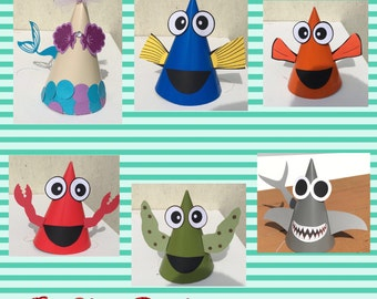 Under the Sea Party hats/ Mermaid party hats - Set of 12