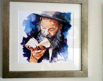Original watercolor painting/framed/jewish rabbi/judaica jewish art/Israeli Artist