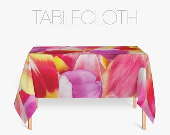 Tulip Petals Table Cover, Pink Tablecloth, Gift For Her, Pink Kitchen Decor,