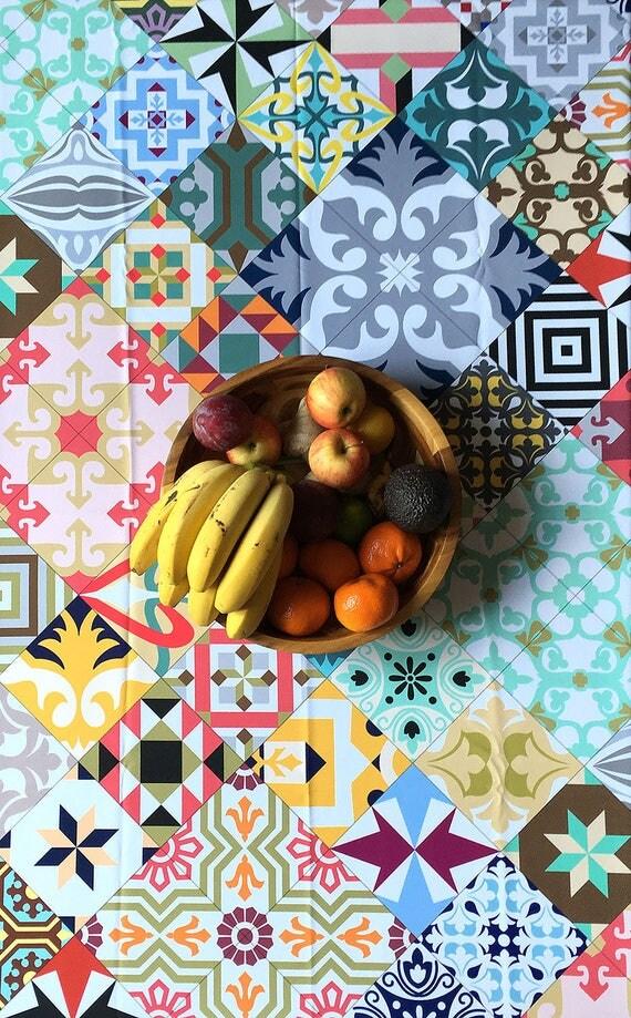 Mosaic Tablecloth, Ceramic Tile Designs, Vintage Tablecloth, Kitchen Linens, Kitchen Decoration, Barcelona Tiles