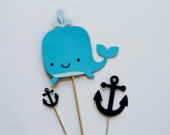 Anchor Cupcake Toppers • Nautical Cupcake Toppers • Anchor Cake Topper • Whale Cake Topper • Nautical Themed Toppers • Nautical Decorations