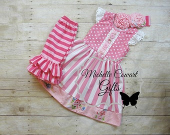 Pink Outfit, Ruffle Capri, Girls Outfit, Toddler Outfit, 12M, 18M, 2T,  3T, 4T, 5, 6, 7, 8, 10, 12, Matilda Jane, RTS, Spring, Birthday