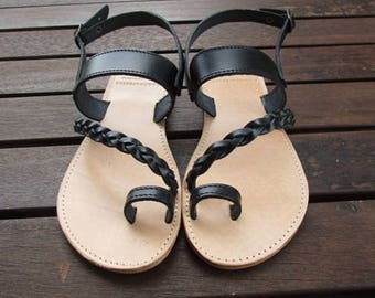 Hand Made Greek Leather Sandal (Black,Natural Colour)