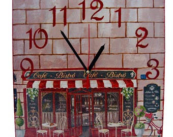 Wall clock Bistro Cafe / Wall clock picture Decor / Vintage decor /Decoupage wall clock/