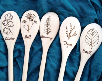Dill, Rosemary, Thyme, Cilantro, Sage, Parsley, Basil, Herb wooden spoons - Housewarming gift, Mom, wedding, bridal shower, gardening gift
