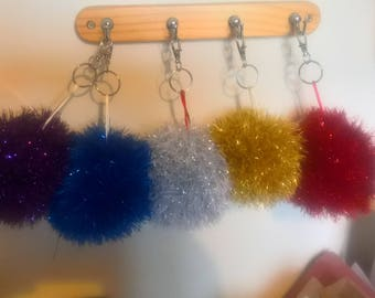 Knitted sparkly keyring