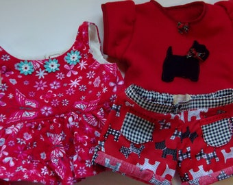 build a bear outfit red floral cord dress scotty dog shorts matching fleece top applique scotty dog 3 piece set my own design.daisy trim